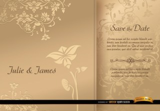 Golden Floral Sleeve Wedding Card Free Vector