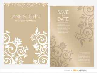 Golden Floral Wedding Invitation Sleeve Free Vector