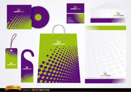 Green Purple Stationery Packaging Design Free Vector