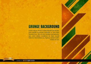 Grunge Yellow Background with Geometric Shapes Free Vector