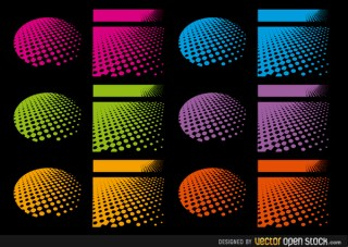 Halftone Designs In Several Colours Free Vector