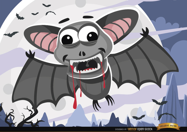 Halloween Bloody Bats Night Wallpaper Free Vector