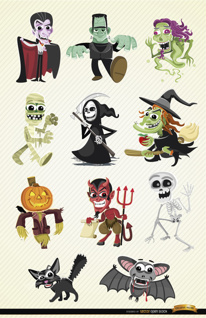 Halloween Cartoon Characters Set Free Vector