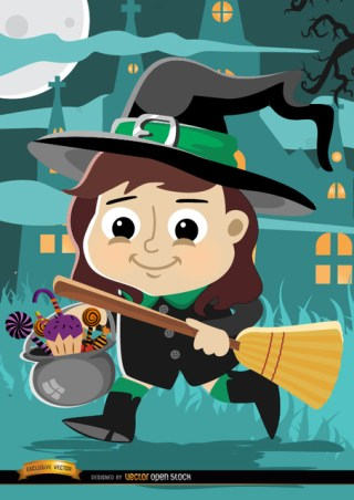 Halloween Cartoon Girl Witch Costume Free Vector