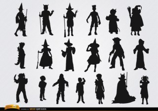 Halloween Children Costumes Silhouettes Free Vector