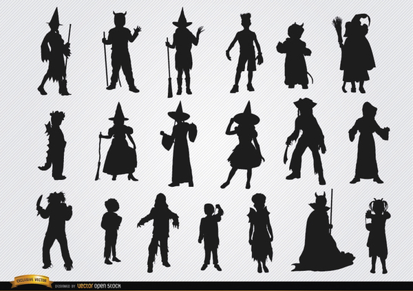Halloween Children Costumes Silhouettes Free Vector