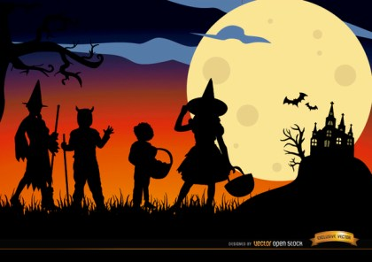 Halloween Children Disguised Silhouettes Background Free Vector