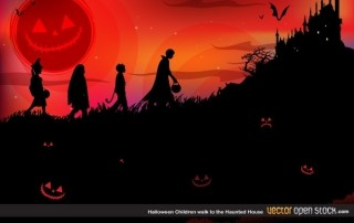 Halloween Children Walk to The Haunted House Free Vector