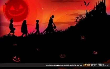 Halloween Children Walk to The Haunted House Free Vector