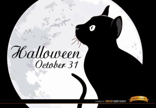 Halloween Full Moon Cat Background Free Vector