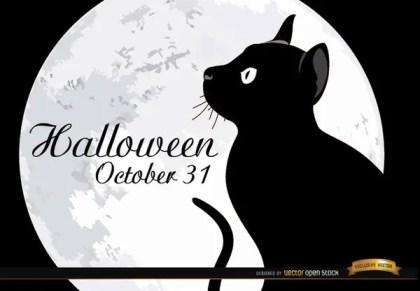 Halloween Full Moon Cat Background Free Vector