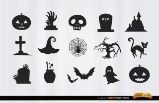 Halloween Horror Objects Icon Pack Free Vector