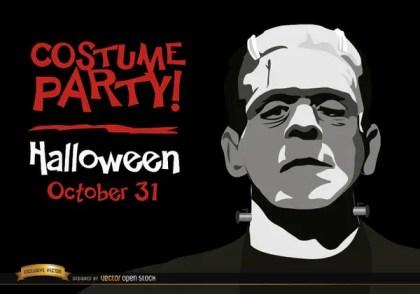 Halloween Invitation Party Frankenstein'S Monster Free Vector