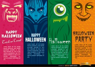 Halloween Monsters Bookmarks Free Vector