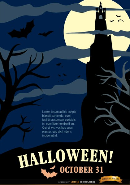 Halloween Night Party Poster with Hunted House & Dead Trees Free Vector