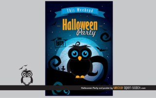 Halloween Party Owl Poster Free Vector