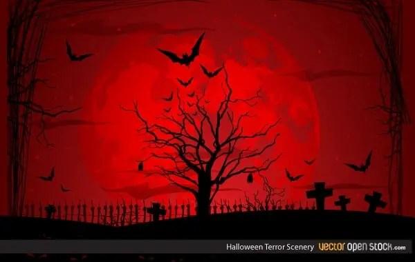 Halloween Terror Scenery Free Vector