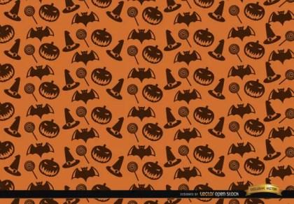 Halloween Texture Hat Candy Bats and Creepy Pumpkin Background Free Vector