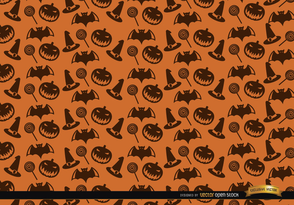 Halloween Texture Hat Candy Bats and Creepy Pumpkin Background Free Vector