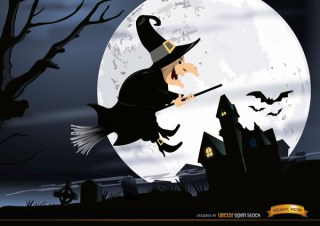Halloween Witch Flying Graveyard Night Wallpaper Free Vector