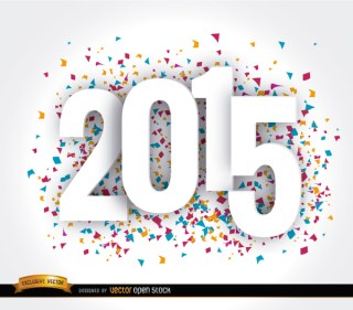 Happy 2015 Year Confetti Wallpaper Free Vector