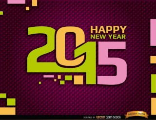 Happy 2015 Year Retro Background Free Vector