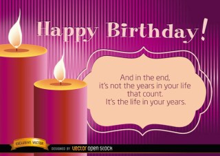 Happy Birthday Candles with Life Message Free Vector