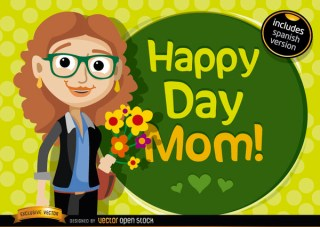 Happy Day Mom Cartoon Free Vector