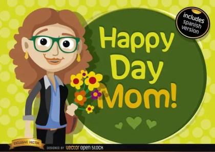 Happy Day Mom Cartoon Free Vector