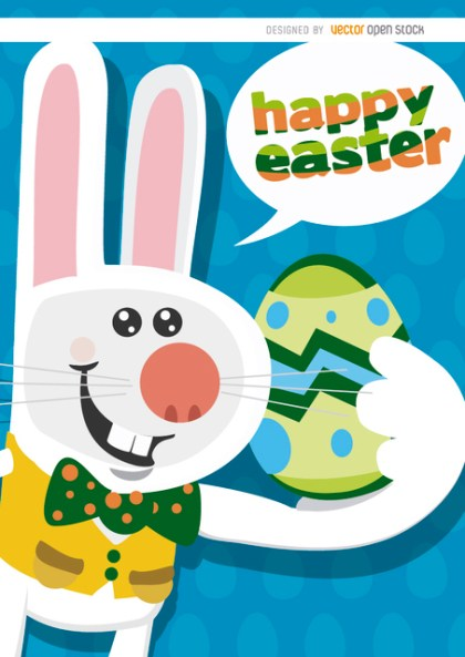 Happy Easter Funny Bunny Background Free Vector