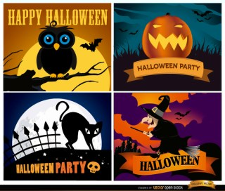 Happy Halloween Backgrounds Set Free Vector