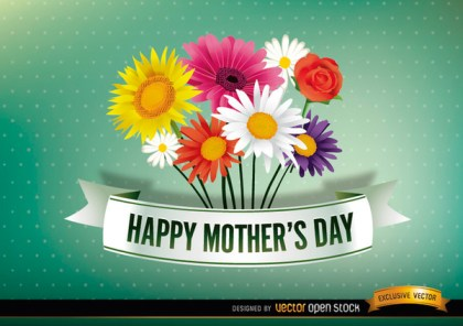Happy Mothers Day Ribbon with Daisies Free Vector