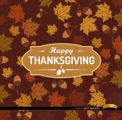 Happy Thanksgiving Acorn Leaves Background Free Vector