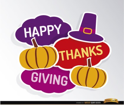 Happy Thanksgiving Hat Pumpkins Background Free Vector