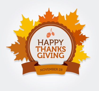 Happy Thanksgiving Round Label Free Vector