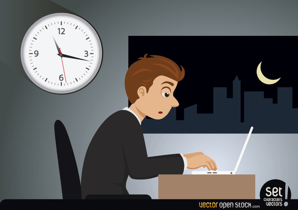 Hardworking Businessman Working Late Night Free Vector