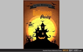 Haunted House Halloween Poster Free Vector