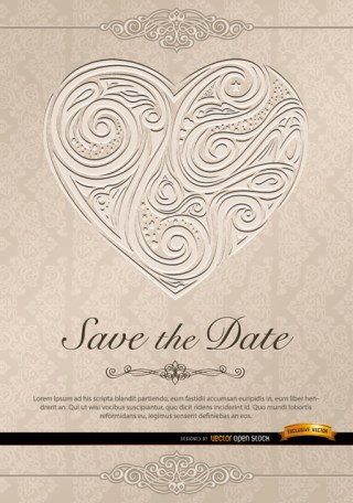 Heart Swirls Invitation Wedding Free Vector