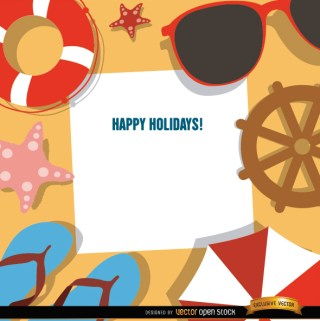 Holidays Background Beach Objects Free Vector