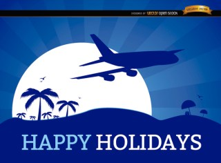 Holidays Vacation Plane Background Free Vector
