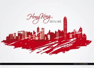 Hong Kong City Buildings Painted Red Free Vector