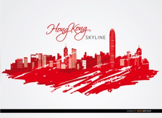 Hong Kong City Buildings Painted Red Free Vector