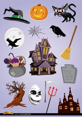 Horror Halloween Cartoon Elements Free Vector