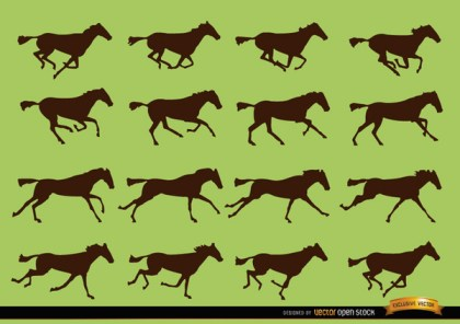 Horse Galloping Motion Sequence Silhouettes Free Vector
