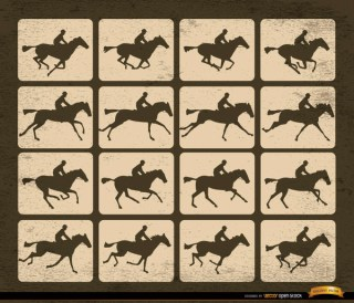 Horse Racing Silhouette Motion Frames Free Vector