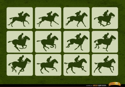 Horse Racing Sport Motion Frames Free Vector
