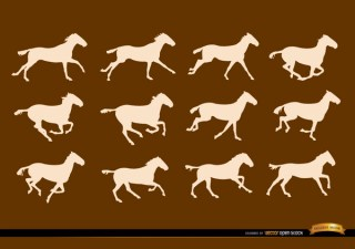 Horse Running Sequence Frames Silhouettes Free Vector