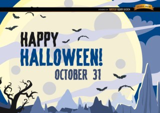 Hunted Halloween Poster Bats Flying Over Moon Free Vector