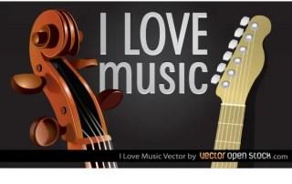 I Love Music Free Vector