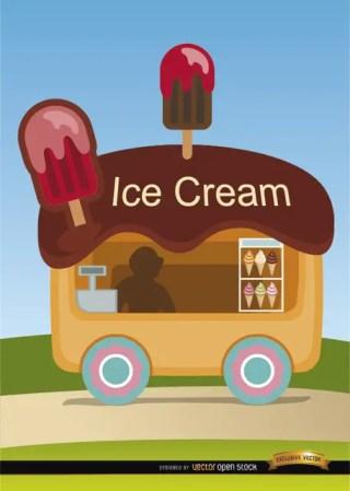 Ice Cream Wagon Cartoon Free Vector
